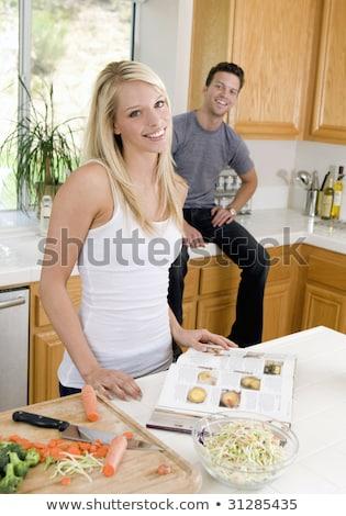 Paar keuken kookboek vrouw familie haren Stockfoto © photography33