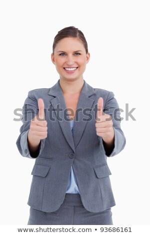 Uśmiechnięty zatwierdzenie biały pracownika korporacyjnych palec Zdjęcia stock © wavebreak_media
