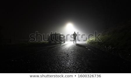 Eenzaam weg nergens avond hemel wolken Stockfoto © marcopolo9442