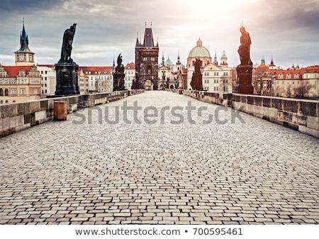köprü · şafak · Prag · Çek · Cumhuriyeti · Bina · kar - stok fotoğraf © cosma