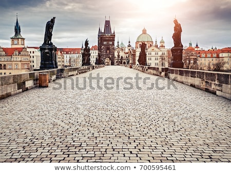моста · рассвета · Прага · Чешская · республика · здании · снега - Сток-фото © cosma