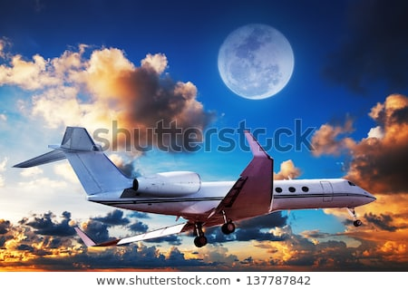 luxurious private jet maneuvering in a sky at sunrise time stock photo © moses