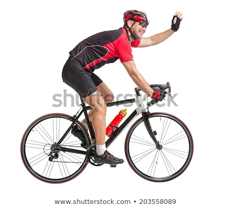 Adult bicyclist celebrating a win. Stock photo © snyfer
