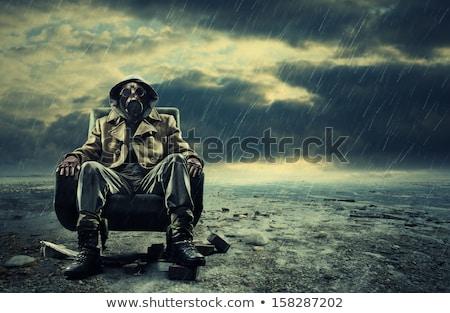 Posta atomi hősök katona visel gázmaszk Stock fotó © stokkete