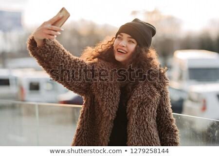 Bere şapka kız kış kürk portre Stok fotoğraf © lunamarina