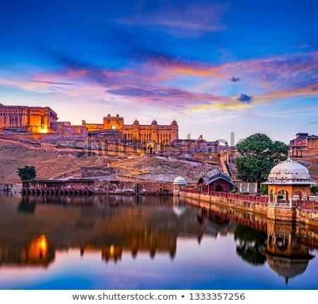 fort and lake in jaipur india at night stock photo © mikko