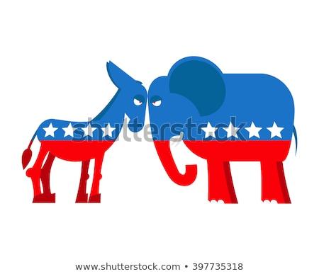 Democrat contrario segni due cielo blu Foto d'archivio © stevanovicigor