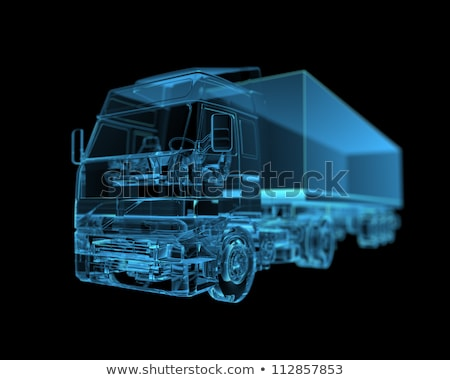 groot · vrachtwagen · Xray · geïsoleerd · 3d · render · zwarte - stockfoto © cherezoff