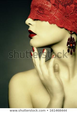 女性 · 赤 · リボン · 目 · 肖像 · 小さな - ストックフォト © zastavkin