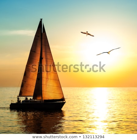 romantique · coucher · du · soleil · grec · mer - photo stock © silense