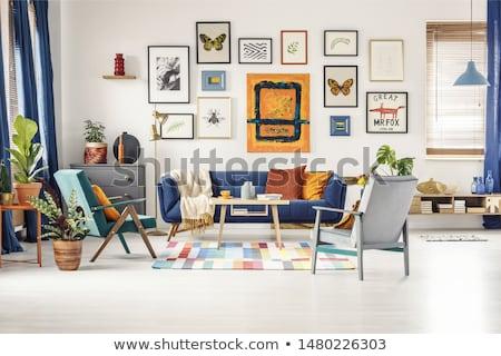 Poszter akasztás művészeti galéria fal papír méret Stock fotó © stevanovicigor