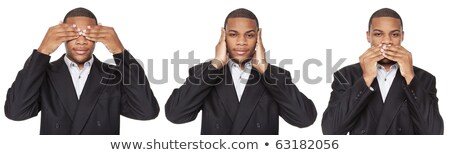 Businessman on white background in See No Evil pose Stock photo © dgilder