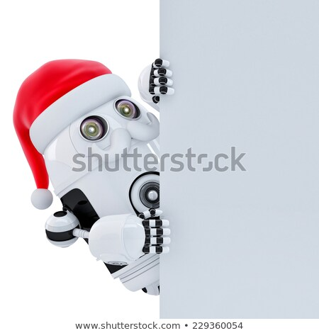 robot santa pointing in blank advertisement banner isolated contains cliping path stock photo © kirill_m