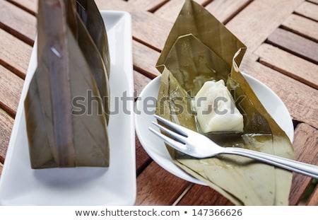 Kinyitott csomag párolt liszt desszert stock Stock fotó © punsayaporn