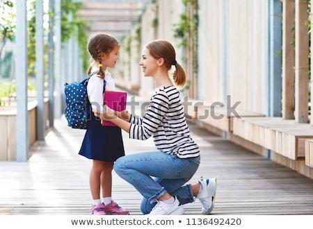 klaar · school · cute · schoolmeisje · uniform - stockfoto © andreasberheide