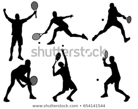 tennis · silhouettes · fille · corps · sport · été - photo stock © Slobelix