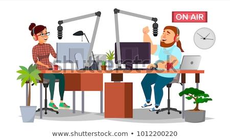 Сток-фото: Male Radio Presenter In Radio Station On Air
