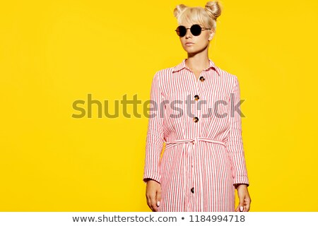 женщину · белый · очки · голову · Плечи · красивой - Сток-фото © majdansky