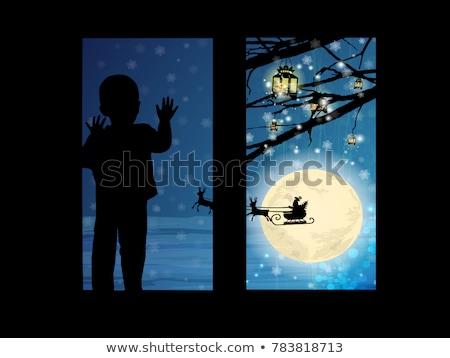 Dziecko okno Święty mikołaj sanki ilustracja domu Zdjęcia stock © carbouval