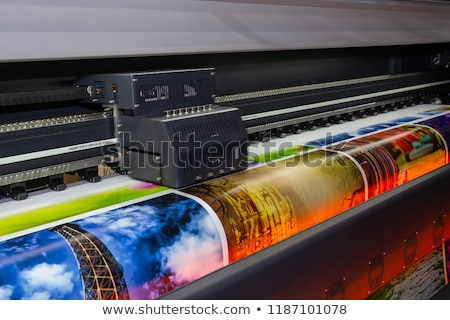 impression · machine · orange · bleu · rouge · magasin - photo stock © uatp1