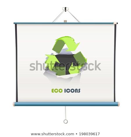 vector projector screen over green stock photo © anna_leni