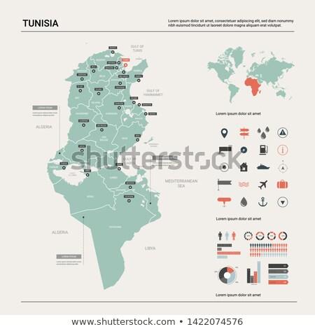 kaart · Tunesië · vlag · maan · achtergrond · teken - stockfoto © mayboro1964