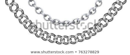 Silber · Kette · isoliert · weiß · Stahl - stock foto © ozaiachin