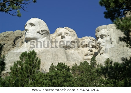 presidents on mount rushmore framed by trees stock photo © ozgur