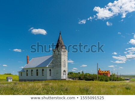 Saskatchewan · gabonatároló · sín · autó · közlekedés · égbolt - stock fotó © pictureguy