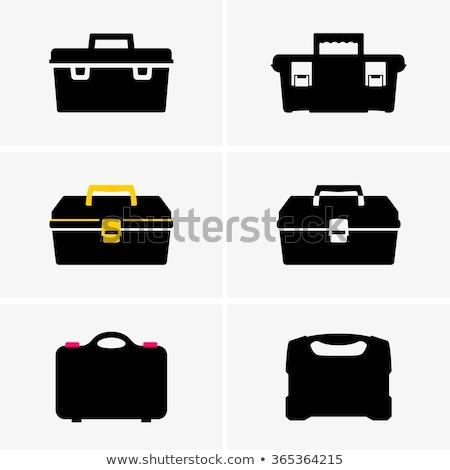 boîte · à · outils · clé · à · molette · propre · plastique · isolé · blanche - photo stock © foka