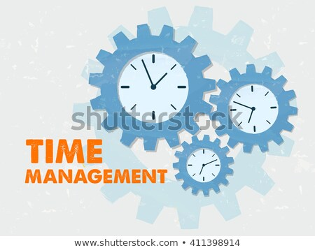 Stock fotó: Time Management With Clocks In Grunge Flat Design Gears