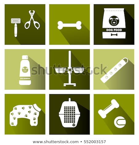 Vector graphic icon set of vet and pet supplies with long shadow Stock photo © feabornset