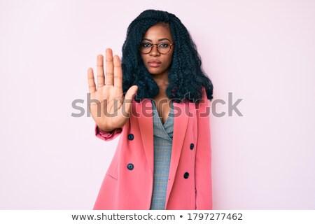 Zakenvrouw afwijzing teken geïsoleerd business vrouw Stockfoto © fuzzbones0