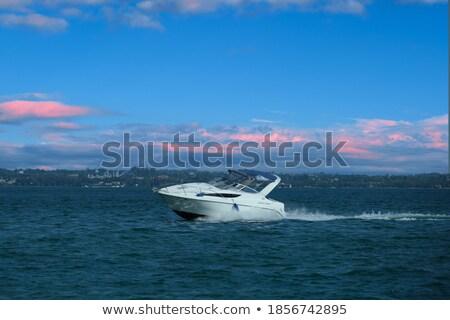 Rózsaszín gyors csónak vitorlázik vakáció szállítás Stock fotó © shutswis