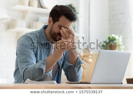 Kimerült üzletember kétségbeesett fej kezek férfi Stock fotó © alphaspirit