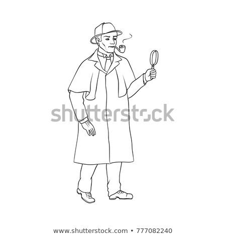 ストックフォト: 探偵 · 黒 · コート · 帽子 · 手袋