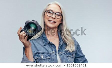 desenho · animado · sorridente · turista · câmera · homem · feliz - foto stock © rastudio