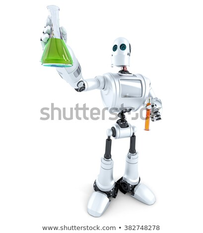 Robot scientist manipulates chemical tubes. Isolated. Contains clipping path Stock photo © Kirill_M