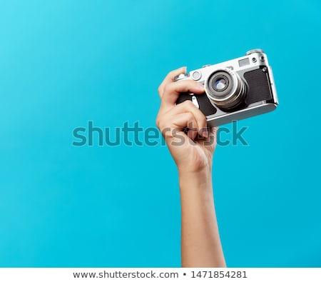 Vrouw camera handen voorraad foto kunst Stockfoto © punsayaporn