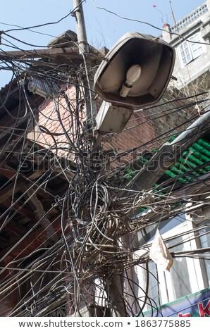 elektromosság · kábel · fából · készült · sok · transzformátor · padló - stock fotó © dutourdumonde