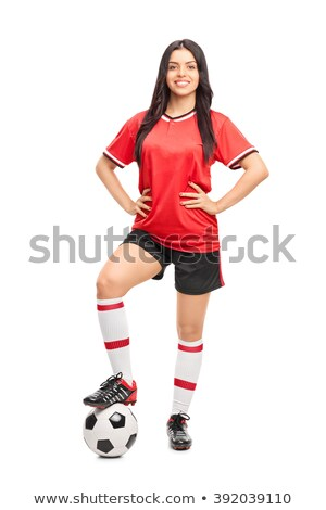 Woman soccer player smiling and posing with a ball  Stock photo © wavebreak_media