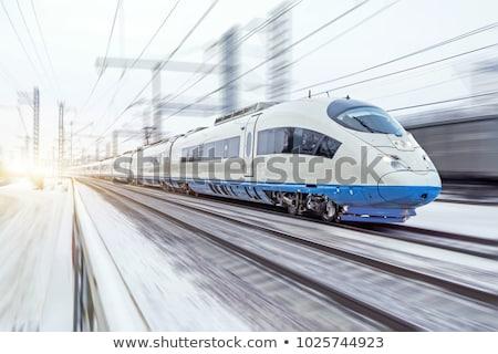 Piros nagysebességű vonat bemozdulás szabadtér város Stock fotó © ssuaphoto