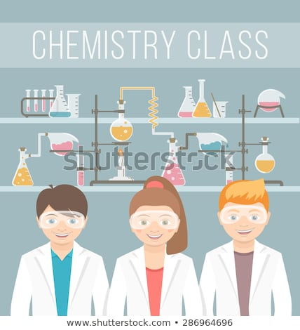 Kids in chemistry class flat education concept  Stock photo © vectorikart