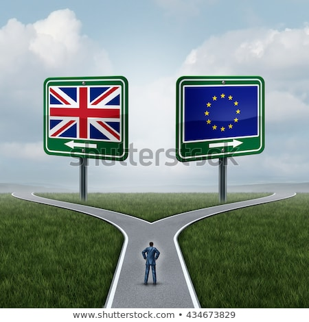 brexit concept illustrated by a highway sign stock photo © giulio_fornasar