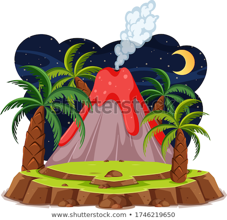 Scene with volcano with lava Stock photo © bluering