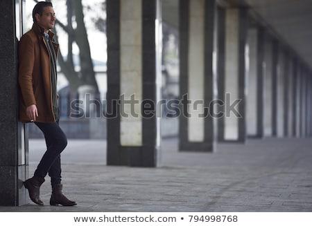 Stok fotoğraf: Yandan · görünüş · zarif · genç · işadamı · sigara · içme · sigara