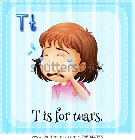 T betű könnyek illusztráció papír háttér művészet Stock fotó © bluering