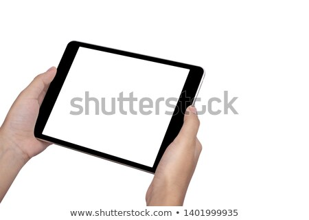 office desktop setup with female hand holding wireless computer stock photo © tab62