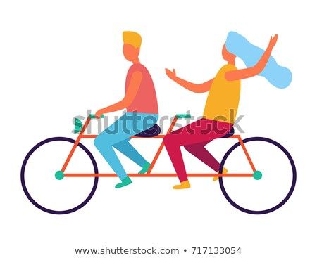 Cute two seat tandem bicycle icon Stock photo © adrian_n