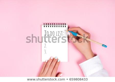 Teendők listája szöveg jegyzettömb kék toll űr Stock fotó © fuzzbones0